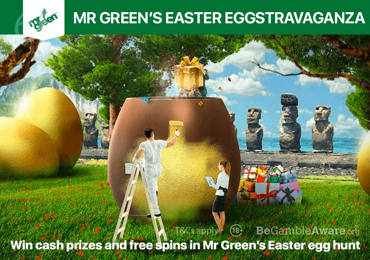 Win cash prizes and free spins in Mr Green's Easter egg hunt