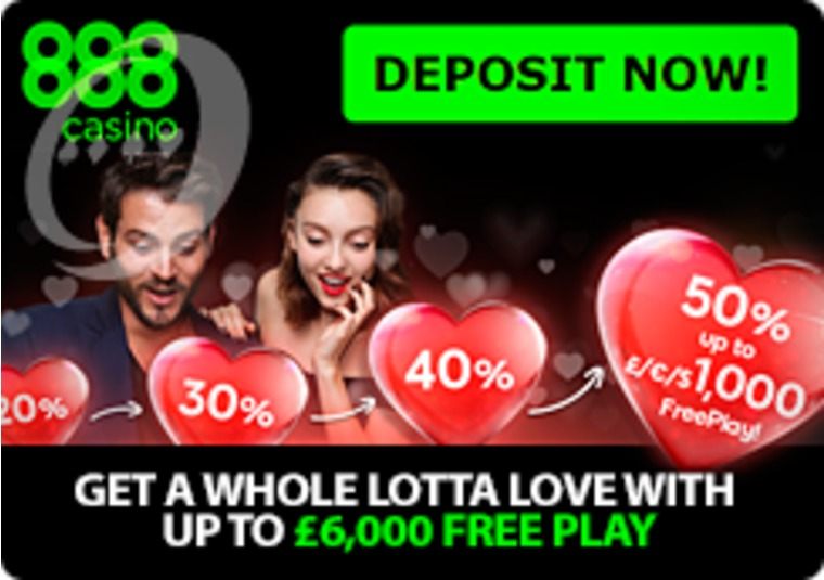 Love is in the air at 888casino, so they're giving up to £6k in free play
