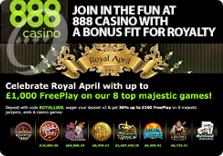 Join in the fun at 888 Casino with a bonus fit for royalty