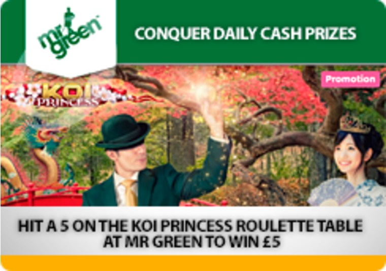Hit a 5 on the Koi Princess Roulette table at Mr Green to win £5