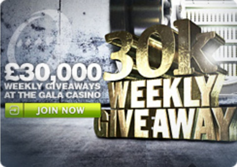 £30,000 Weekly Giveaways at the Gala Casino