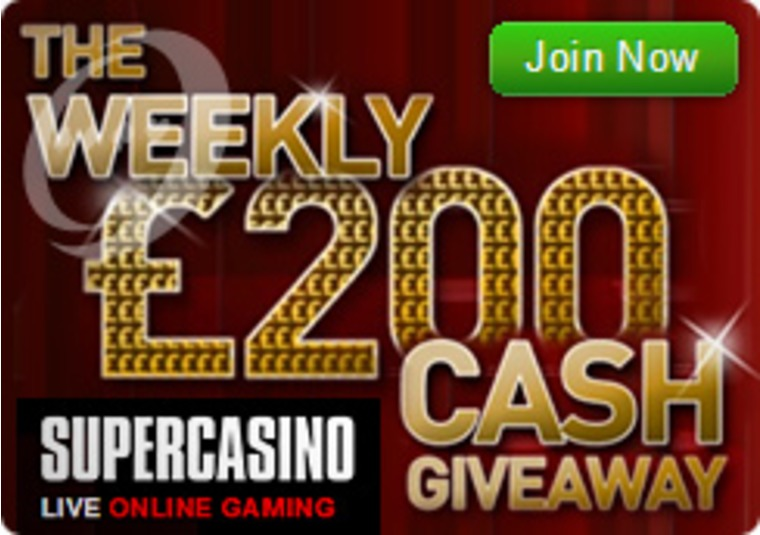 Join the £200 Cash Giveaway Action at Super Casino