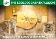 Win a share of £200k in cash at Mr Green