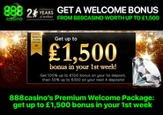 Get a welcome bonus from 888casino worth up to £1,500