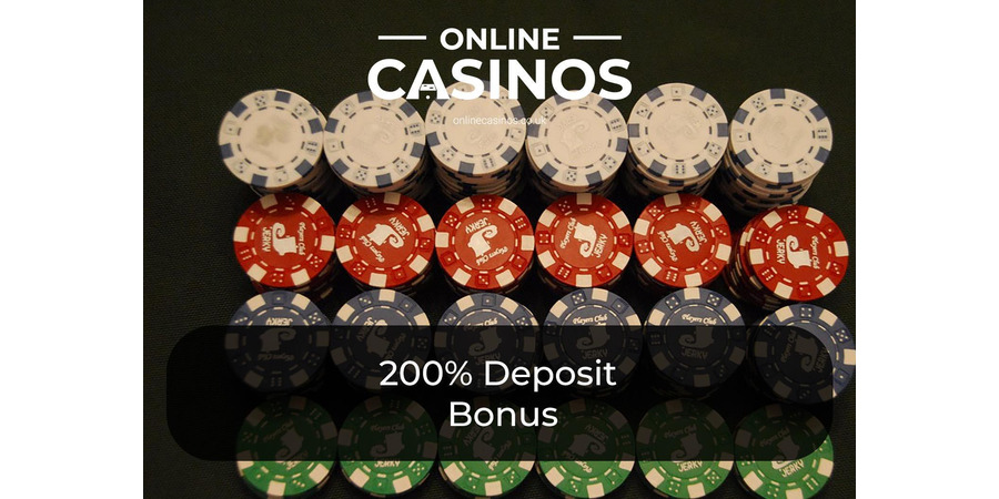 You can earn rows of multicoloured casino chips with a 200% deposit bonus
