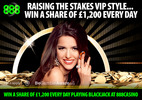 Win a share of £1,200 every day playing blackjack at 888casino